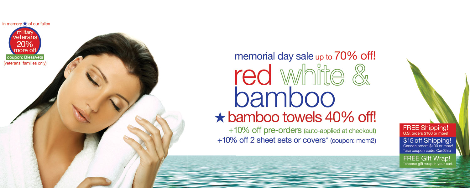 memorial day sale!  bamboo bath towels up to 70% off