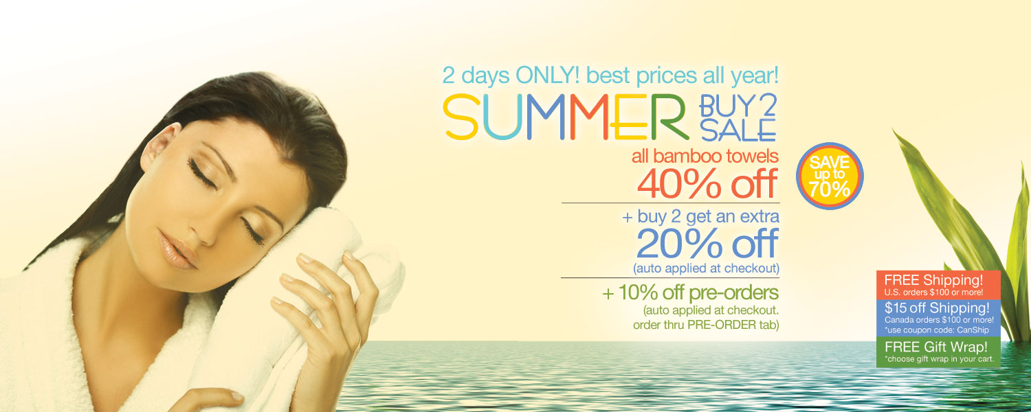 Summer Buy 2 Sale!  bamboo bath towels up to 70% off