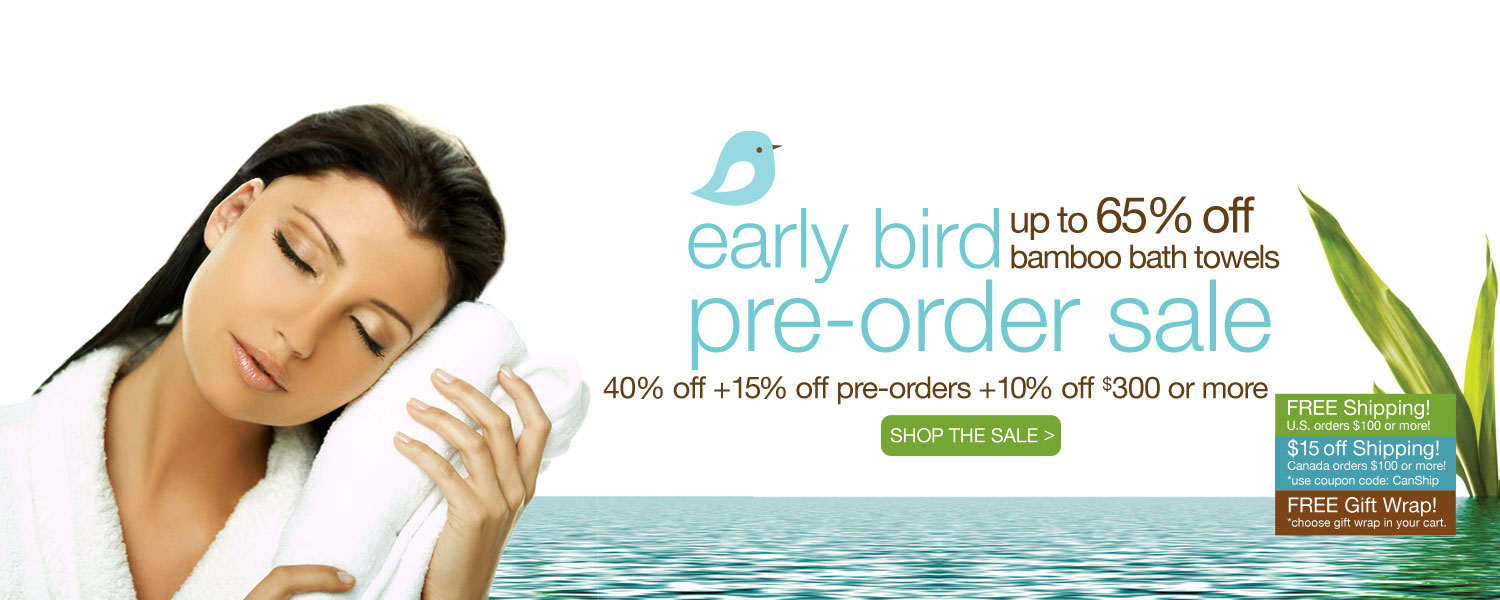 early bird pre-order bamboo bath towel SALE! up to 65% off