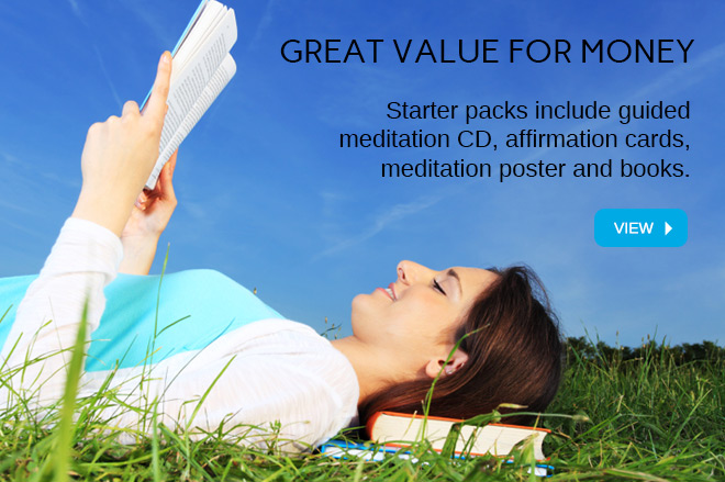 Starter packs include guided meditation CD, affirmation cards, meditation poster and books.