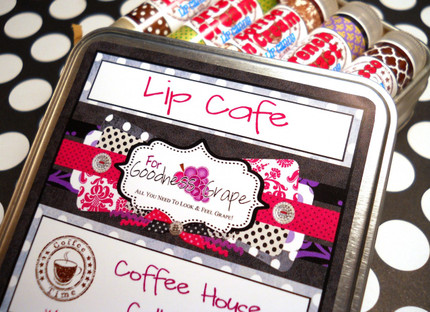 Lip Cafe Lip Balm Collection in a Handy Tin with 5 Lip Balms of Your Choice