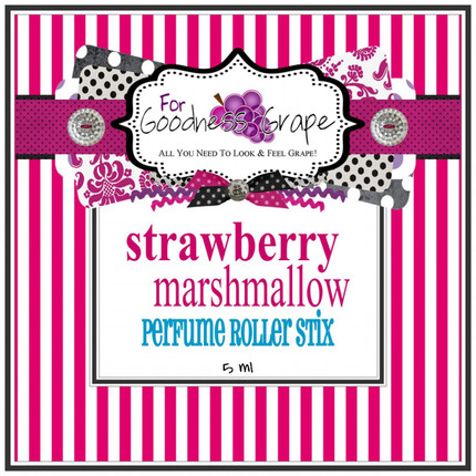 Strawberry Marshmallow Perfume Oil - 5 ml - Roll On Perfume  Juicy, ripe summer strawberries covered in sweet creamy fluffy marshmallows. A new summer favorite for everyone!  Perfect to carry along in your purse for little touch-ups throughout the day.  PERFUME ROLLER STIX are great for layering scents as well, which is one of my favorite ways to use them. Just put one or two in your purse or in your pocket and you are good to go!  PERFECT SIZE FOR PURSE, TRAVEL OR BACKPACK  All of my Perfume Roller Stix and Perfume Stix are blended with are all infused with richly scented perfume grade oils and essentials oils and in perfume ratios into a blend of coconut and jojoba oils which absorb quickly into the skin to keep you smelling GRAPE for hours!  To use: Apply to pulse points on wrists, inside the elbows, behind the ears, or anywhere you want a boost of fragrance. Allow it to sink in for 1-2 minutes and youƒ??ll smell ƒ??GRAPEƒ?? for hours! (Great!)  Follow this link to see more of my PERFUME Roller Stix in different fragrances: http://www.etsy.com/shop/forgoodnessgrape?section_id=7139636  Follow this link to get back to my main shop page: http://www.etsy.com/shop/forgoodnessgrape?ref=si_shop   This listing is for 1 PERFUME ROLLER STIX and contains approximately 5 ml.  _____________________________________________ Click here to see the BUZZ about my ƒ??GRAPEƒ?? products: http://www.etsy.com/feedback_received.php?feedback_type=from_buyers