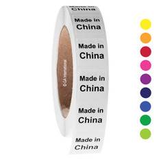 """Made in China"" labels - 25.4 x 25.4mm  #ABA-1008-3"