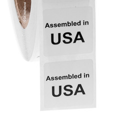 """Assembled in USA"" labels - 25.4 x 25.4mm  #ABA-1002-3"