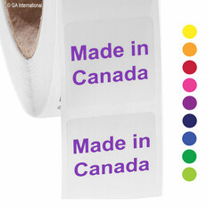 """Made in Canada"" labels - 25.4 x 25.4mm - #ABA-1006-3"