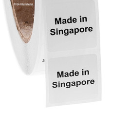 """Made in Singapore"" labels - 25.4 x 25.4mm #ABA-1031-3"