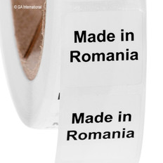 """Made in Romania""  labels - 25.4 x 25.4mm #ABA-1029-3"