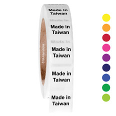"""Made in Taiwan""  labels - 25.4 x 25.4mm  #ABA-1034-3"