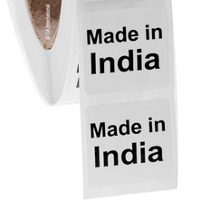 """Made in India""  labels - 25.4 x 25.4mm #ABA-1018-3"