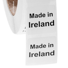"""Made in Ireland"" labels - 25.4 x 25.4mm #ABA-1019-3"