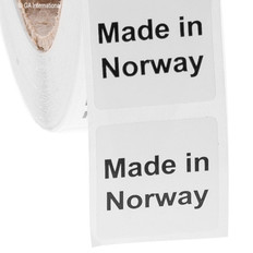 """Made in Norway"" labels - 25.4 x 25.4mm #ABA-1027-3"