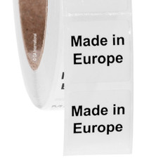 """Made in Europe"" labels - 25.4 x 25.4mm  #ABA-1012-3"