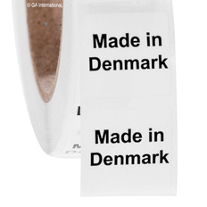 """Made in Denmark"" labels - 25.4 x 25.4mm  # ABA-1011-3"