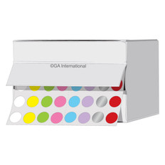 Cryogenic color dots - 9mm diameter #LTR-9X8A colors across