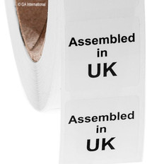 """Assembled in UK"" labels - 25.4 x 25.4mm  #ABA-1001-3"
