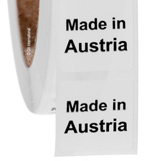 """Made in Austria"" labels - 25.4 x 25.4mm  #ABA-1004-3"