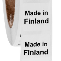 """Made in Finland"" labels - 25.4 x 25.4mm  # ABA-1013-3"