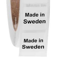 """Made in Sweden"" labels - 25.4 x 25.4mm  #ABA-1033-3"