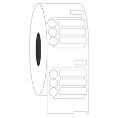 DYMO-Compatible Cryogenic Labels - 20mm x 5mm + 6.35mm Circle  #ED1F-079