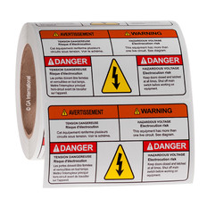 """Hazardous Voltage"" Warning Label - 5"" x 2.9375""  #EL-001-0.5"