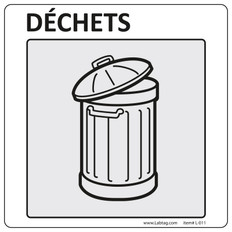 "Warning Labels for General Laboratory Use ""Déchets"" - 101.6mm x 101.6mm  #L-011-0.1P"