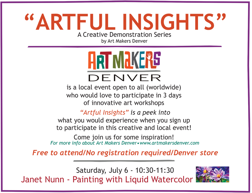 Artful Insights by Art Makers Denver at Meininger's Denver store, last one is Saturday, July 6, 10:30-11:30! Check it out!