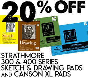 20% OFF Strathmore 300 & 400 Series Sketch & Drawing Pads and Canson XL Pads