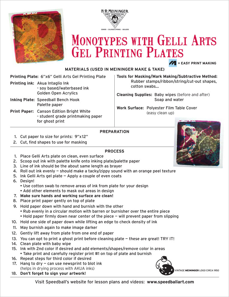 Lesson Plan 13 Monotypes with Gelli Arts Gel Printing Plates