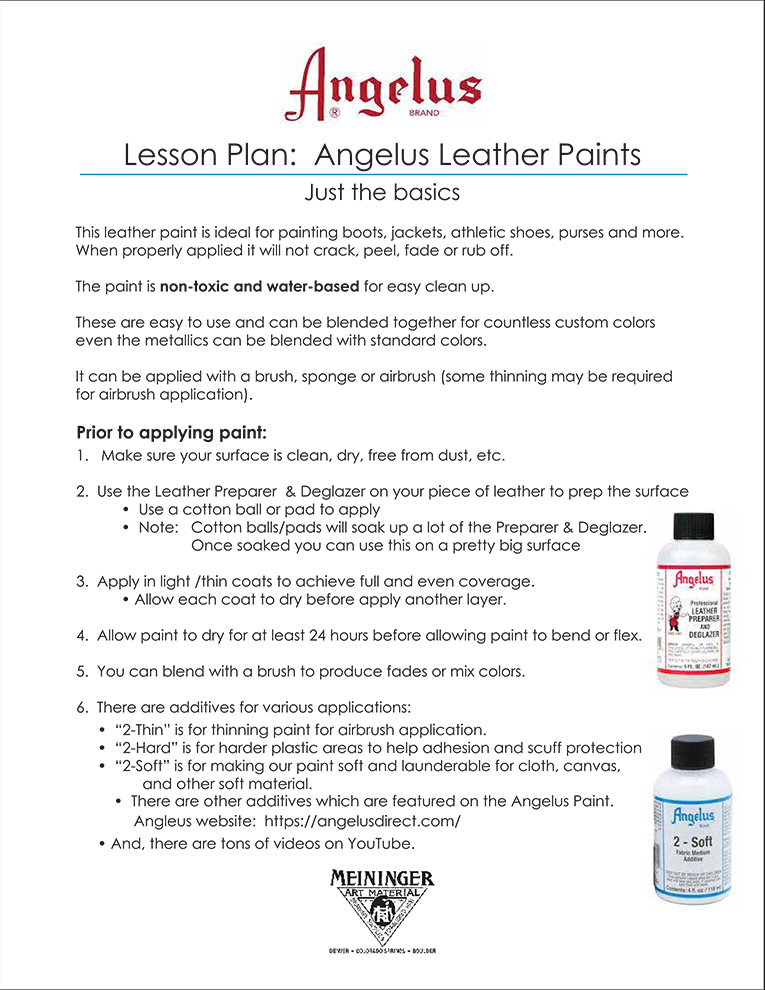 Lesson Plan 18: Angelus Leather Paint