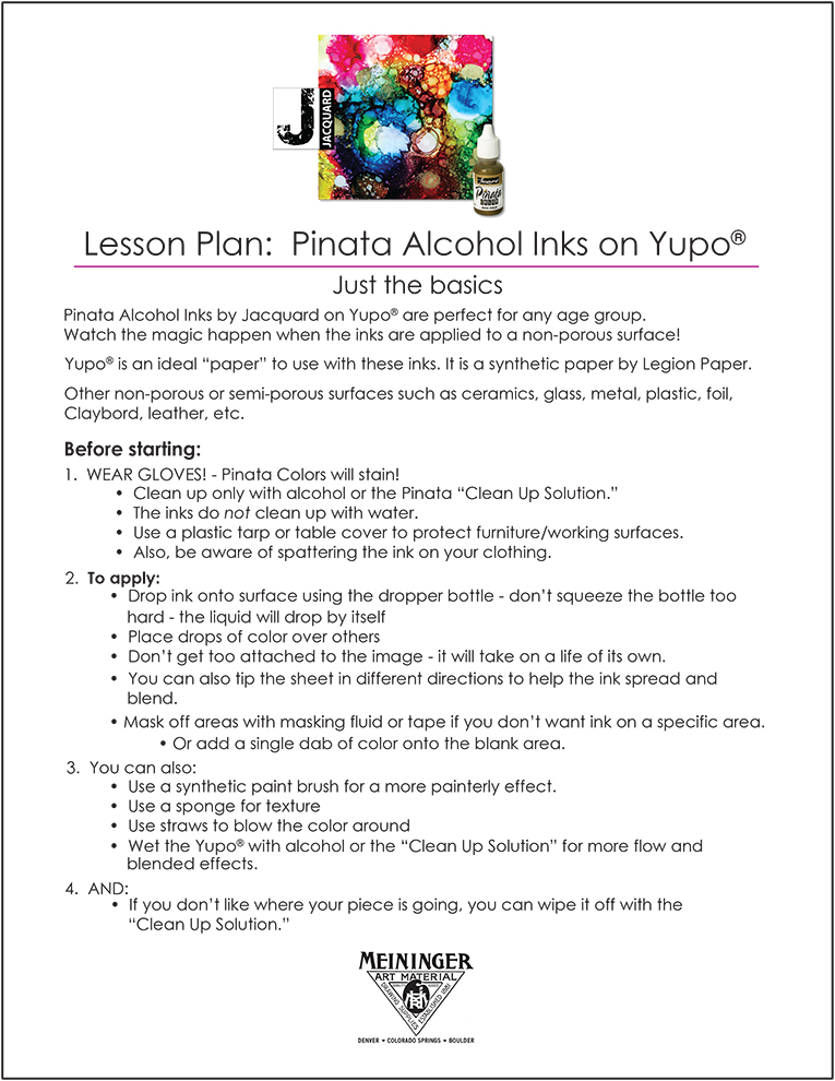 Lesson Plan 18: Pinata Alcohol Inks on Yupo
