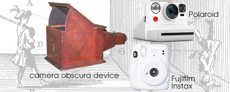 Image of Camera Obscura, Polaroid and Fujifilm Instax Cameras