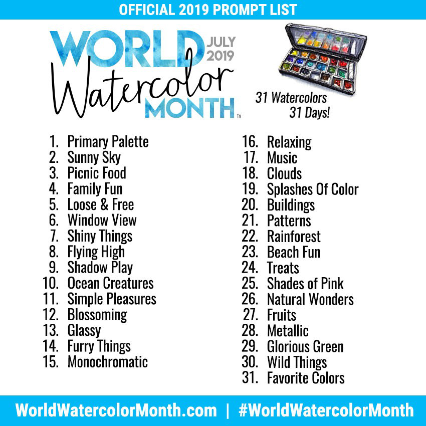 Watercolor Month Prompt List for 2019