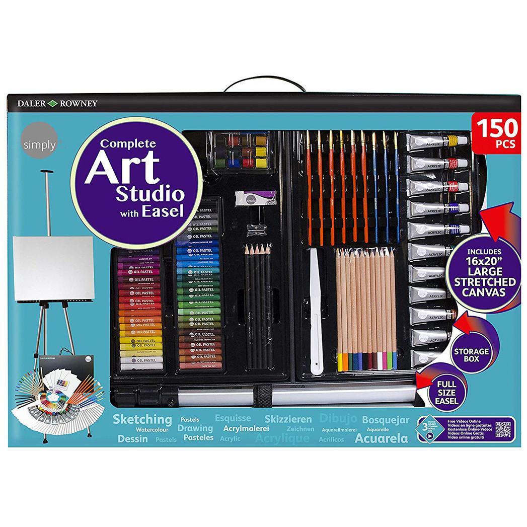 Daler Rowney Simply Complete Art Easel Studio 150pc Set