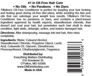 Tiffalina's Oil Free Conditioner Ingredients