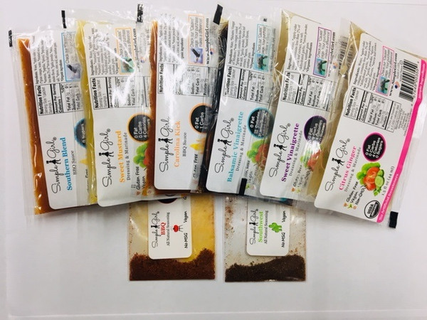 Single serve packets - 4 organic salad dressings, 2 organic bbq sauces, and 2 non-organic seasonings (vary depending on order) so your customers can try them all!