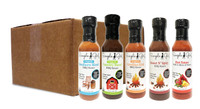 Sauces by the Case -- 6 bottles -- (Sugar Free Organic Carolina Kick BBQ, Sugar Free Organic Southern Blend BBQ , Low Sugar Organic Country Sweet BBQ,  Low Sugar Sweet N' Spicy BBQ, Hot Sauce)