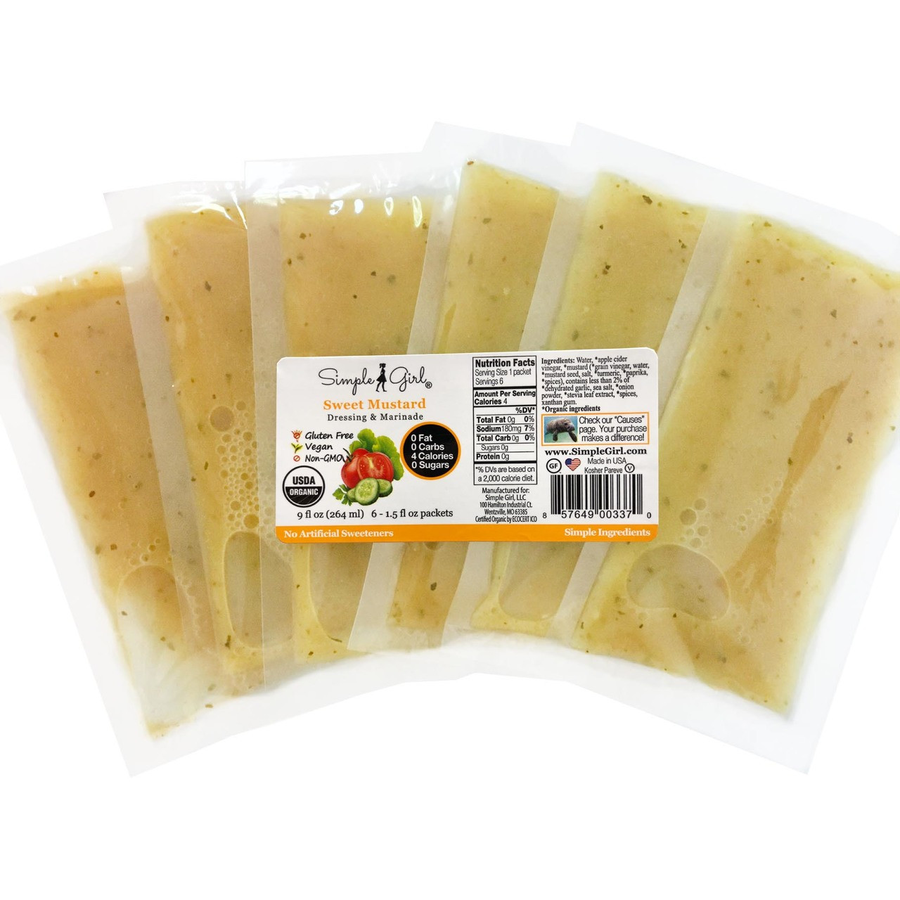 Simple Girl Organic Sweet Mustard Salad Dressing - Single Serve Packets