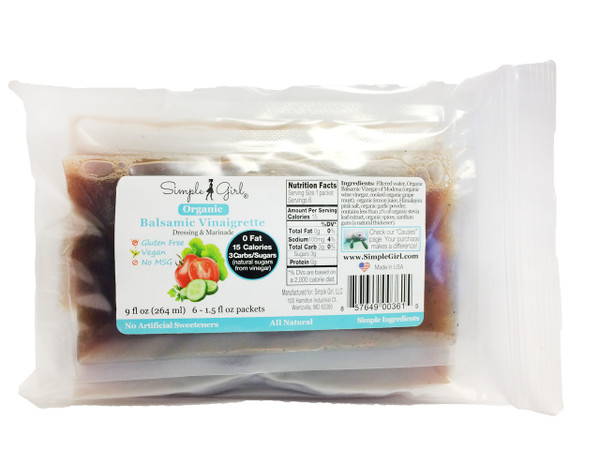 Simple Girl Organic Balsamic Vinaigrette Single Serve Packets, 6 per Package