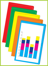 Our legal sized paperwork arrangers are available in assorted packs.  Each pack comes with five each of orange, yellow, green, red and light blue.