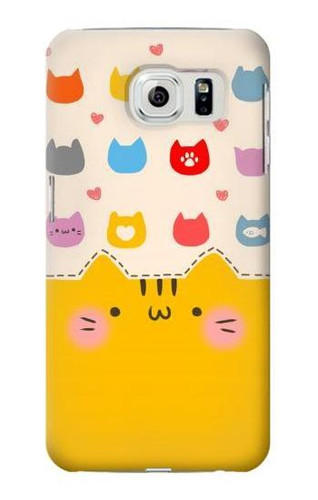 S2442 Cute Cat Cartoon Funny Case For Samsung Galaxy S6 Edge