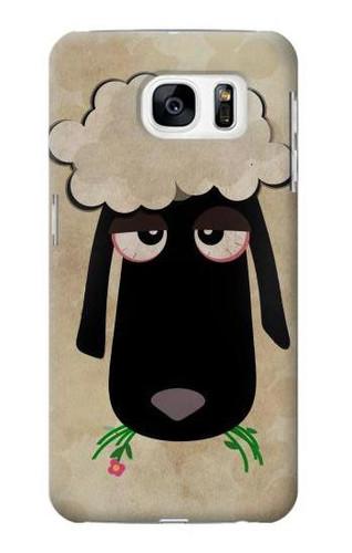 S2826 Cute Cartoon Unsleep Black Sheep Case For Samsung Galaxy S7