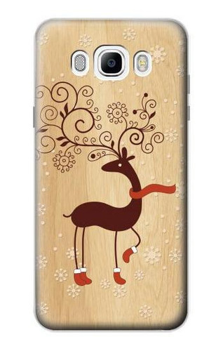 S3081 Wooden Raindeer Graphic Printed Case For Samsung Galaxy J7 (2016)