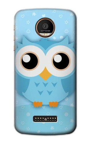S3029 Cute Blue Owl Case For Motorola Moto Z Force, Z Play