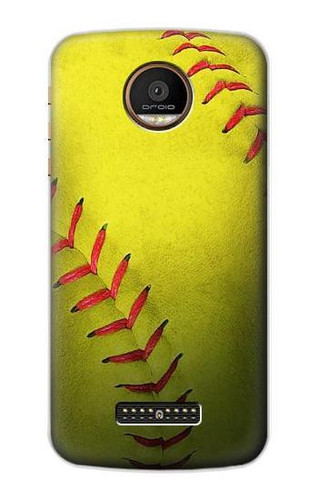 S3031 Yellow Softball Ball Case For Motorola Moto Z Force, Z Play