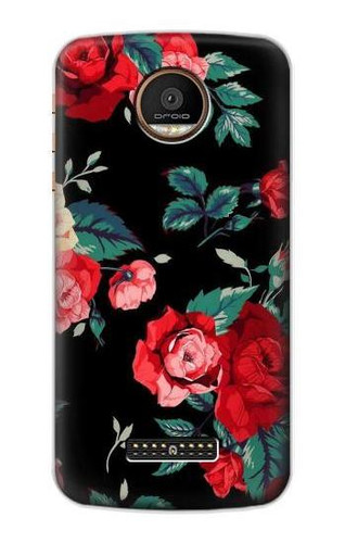S3112 Rose Floral Pattern Black Case For Motorola Moto Z Force, Z Play