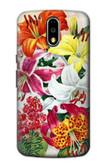 S3205 Retro Art Flowers Case For Motorola Moto G4, G4 Plus