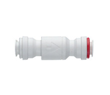 """1/4"""" Single Check Valve  The Super Speedfit Acetal Single Check Valve ensures protection against reversal of flow.  The low headloss design and fast installation time make the valve the ideal selection. The valve is designed for use with liquids, it is not suitable for air and vacuum applications.  *Working Pressures and Temperatures*  10 Bar at 20°C  7 Bar at 65°C intermittent hot water  Minimum temperature 1°C Typical 'crack open' pressure 0.02 Bar"""