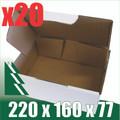20 x BX1 White Cardboard Boxes 220 x 160 x 77mm
