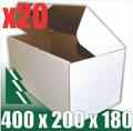 20 x BX3 White Cardboard Boxes 400 x 200 x 180mm