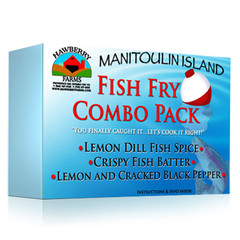 Fish Fry Combo Pack Lemon dill fish seasoning, crispy fish batter, lemon and cracked black pepper fish seasoning.